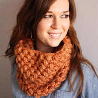 Crochet Bubble Cowl in Harvest Warm Winter Neckwarmer Thick Bubble Womens Scarf Peach Orange