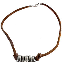 Unisex Triple Skull Necklace in Brown – bandbcouture.com
