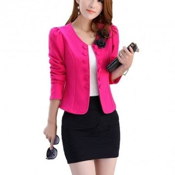 Double Breasted Woman Blazers Short Design