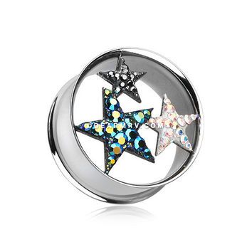 A Pair of Triple Star Multi-Gem Sparkle Tunnel Ear Gauge Plug