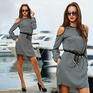 Streetstyle  Casual New Women Grey Plaid Cut Out Round Neck Streetwear Polyester Mini Dress