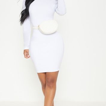 Shape White Slinky High Neck Bodycon Dress