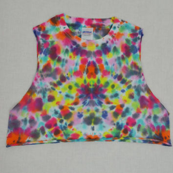 Tie Dye Crop Psychedelic Rainbow Hippie Festival Small MED Womens Clothing Handmade Tie Dye Cutoff Shirt Tank Sleeveless Rave Trippy