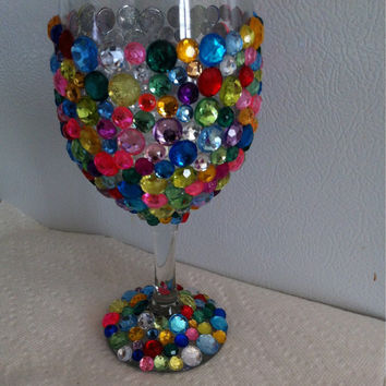Rhinestone Customized Wine Glass