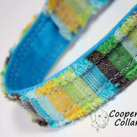 Stripe Dog Collar Frayed Aqua Green Blue Yellow by CoopersCollars