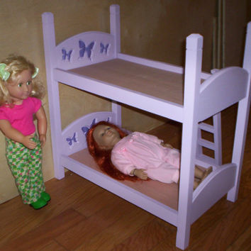 Handcrafted American Girl 18 inch doll size bunk bed  purple bed with purple butterfly headboard design