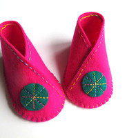 Baby Bootie KIT - Wool Felt - Do It Yourself - Materials and Instructions - Pattern and Pre Cut Pieces - Kimono Shoe