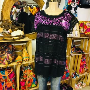 Mexican Oaxaca Blouse Floral Lilac Embroidery Black