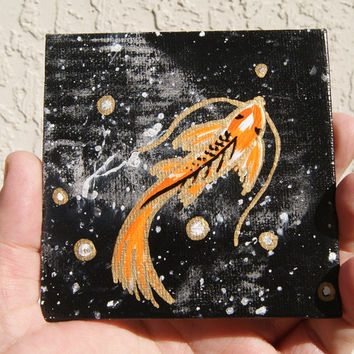 koi fish painting, cosmic koi mini art, with free easel, Kiaw