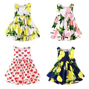 Baby Girls Kids Sleeveless Flower Princess Dress Casual Party Dresses Clothes US