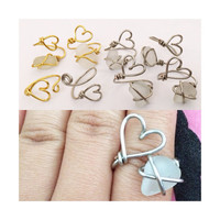 Adjustable Heart Sea Glass Ring in Gold or Silver