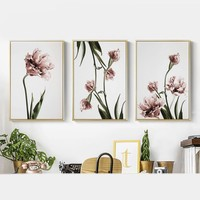 Romantic Nordic Flowers Poster Canvas Painting Wall Art Pictures for Lving Room HD Posters And Prints Pink Green Home Decorative