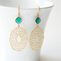Matte Gold Filigree Dangle Earrings w/ Emerald Green Glass Stone ByLolaB