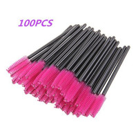 G2Plus® 100 Pack Disposable Eyelash Mascara Brushes Wands Applicator Makeup Brush Kits Pink