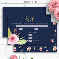 Navy Blue RSVP Card, Personalized Invitation Template, RSVP Card, Wedding Response, Printable rsvp, Floral Rose Printable, RSVP Insert