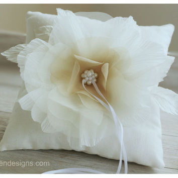 Ring Pillow. Ivory Ring Pillow. Handmade Wedding Ring Pillow With Silk Handmade Flower