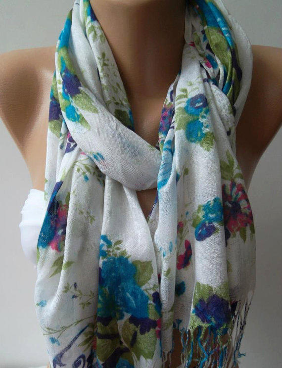 Shawl for Summer / Blue  Roses - Elegance Shawl / Scarf / soft and light.
