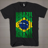 BRAZIL Flag Typography  Mens and Women T-Shirt Available Color Black And White