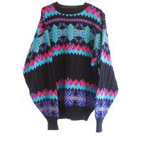 Colorful Vintage Ski Sweater - Colorful Snowflake Sweater