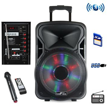 beFree Sound 12 Inch Woofer Portable Bluetooth Powered PA Tailgate Party Rechargeable Speaker With Illuminating Lights