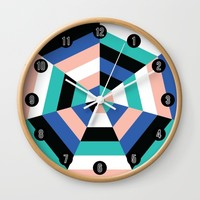 Heptagon Quilt 3 Wall Clock by Fimbis