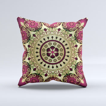 Mirrored Gold Purple Elegance Ink-Fuzed Decorative Throw Pillow