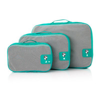 Heys Pack ID Packing Cubes 3pc Set Travel Accessories Luggage Organizers Teal