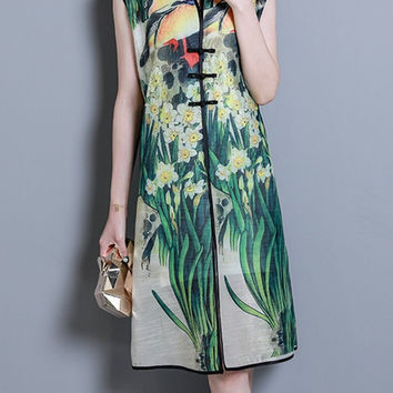 Floral Print Frog Button Sleeveless Stand Collar Dress For Women