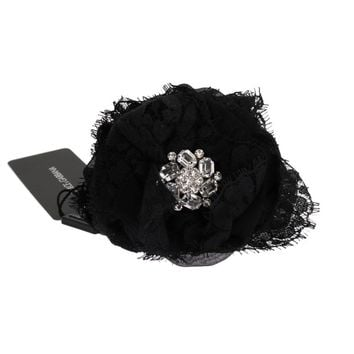 Dolce & Gabbana Black Floral Lace Crystal Hair Claw