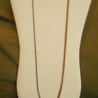 30 inch long Single Antiqued Bronze and Double Antiqued Copper Chain Layering Necklace