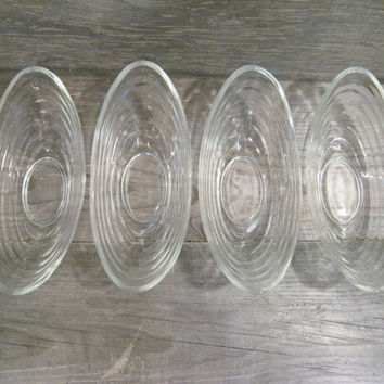 Ice Cream Bowls * Melon Bowls * Dessert Dishes * Set of 4 Vintage Glass