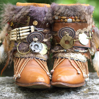 Custom upcycled REWORKED vintage boho boots festival BOOTS gypsy boots ankle boots belted boots