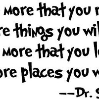 """Amaonm® Removable Quotes and Saying """"Dr. Seuss the More You Read, the More Things You Will Know"""" Transfers Murals Baby Art Vinyl Wall Decals Stickers Love Kids Bedroom Children School"""