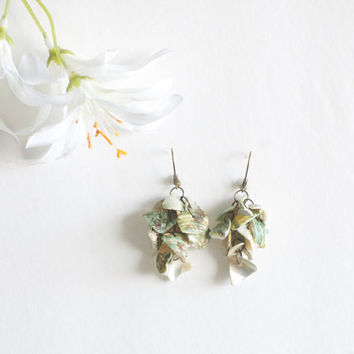 Sea shell Earrings, Geen and White Seashell pieces with Lever Back Hook. Beach Wedding