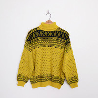fair isle sweater, fairisle sweater, nordic sweater ski sweater mustard yellow sweater turtleneck sweater oversize sweater 80s sweater l xl