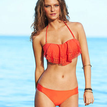 Jessica Simpson Swimsuit, Ruffle Bandeau Bikini Top & High-Cut Solid Bikini Bottom - Womens Junior Swimwear - Macy's