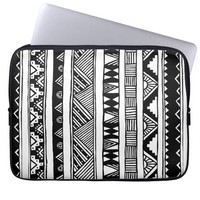 Trendy Black White Aztec Tribal Geometric Pattern Laptop Computer Sleeve