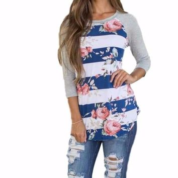 Gray Floral Striped Baseball Style T-Shirt Top