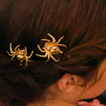 Halloween Hair Pin Spider Bobby Pins Gold Spider Hair Pins Goth Spooky Hair Clip Costume Hair Pin Hair Accessories