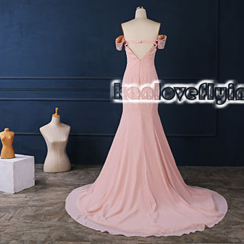 Sexy backless long floor length pink prom dresses,long party dress off shoulder,hot elegant formal dress,long evening dress,bridesmaid dress