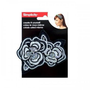 Simplicity Embroidered Sequin Flower Headband Accent (pack of 24)