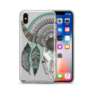 Feathered Mandala Animal Skull - Clear TPU Case Cover Phone Case
