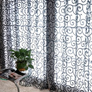 1*2m Home Decor Drapes Sheer Window Curtains for Living Room Bedroom Kitchen Modern Tulle Floral Fabric Blinds 1Pc