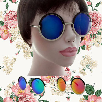 NEW - Oversized Round Sunglasses Circle Ombre Rainbow Mirrored Glasses - Janis
