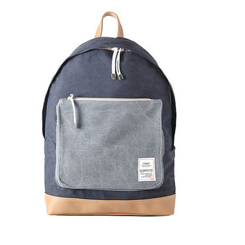 Washed Fabric Backpack with Big Pocket (Navy)