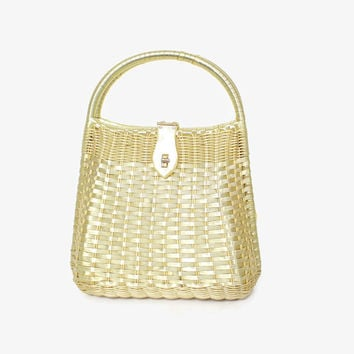 Vintage 60s Yellow Wicker Purse / 1960s Pearly Pastel Yellow Woven Hand Bag