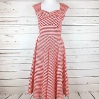 MUXXN Red Gingham 1950 Retro Vintage Inspired Cap Sleeve Party Swing Dress NWT L