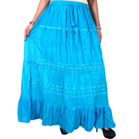 Mogulinterior Maxi Skirt Blue Bohemian Cotton Casual Wear Gypsy Long Skirts