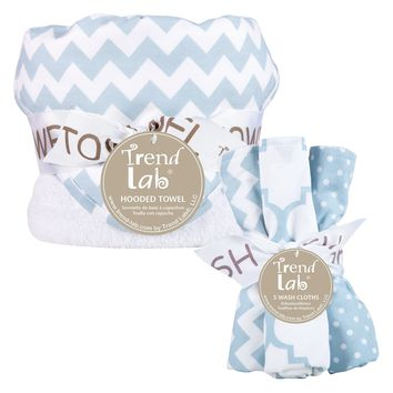 Blue Sky 6 Piece Chevron Hooded Towel and Wash Cloth Set