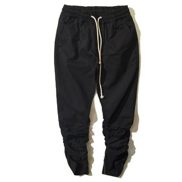 "Hip Hop Fashion Men""s ankle zipper Pants Justin Bieber Harem Kanye West Drop Crotch Pants Fear of God Mens Joggers M14"